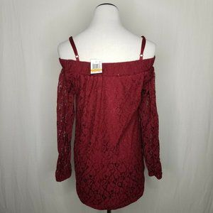 Seven Sisters Tops - Seven Sisters Off-The-Shoulder Burgundy Lace Top